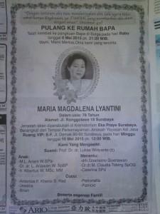 Ny MARIA MAGDALENA LIYANTINI - wafat 6 Mei 2015