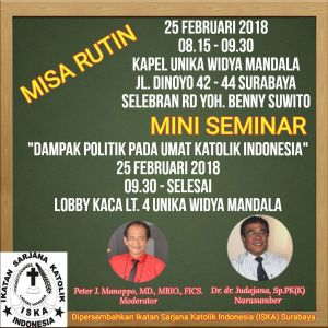 Undangan Misa Rutin & Mini Seminar ISKA Surabaya 2018