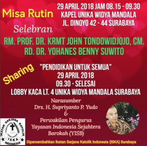 Undangan Misa Rutin & Sharing ISKA Surabaya - 29 April 2018